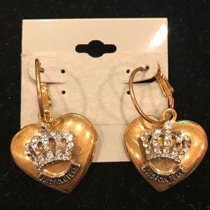 Juicy Couture large gold hoop/heart earrings
